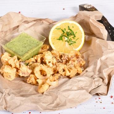 Calamar baby pane cu sos mediteranean, 250g