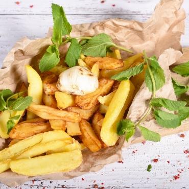 Cartofi prajiți cu mentă și usturoi, 150g